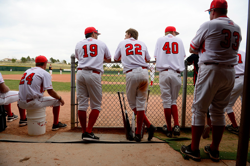. PARKER, CO - APRIL 29: Regis Jesuit shortstop Brody Weiss (22) watches his team bat during the team\'s final home game. Weiss is the son of Colorado Rockies manager Walt Weiss. (Photo by AAron Ontiveroz/The Denver Post)