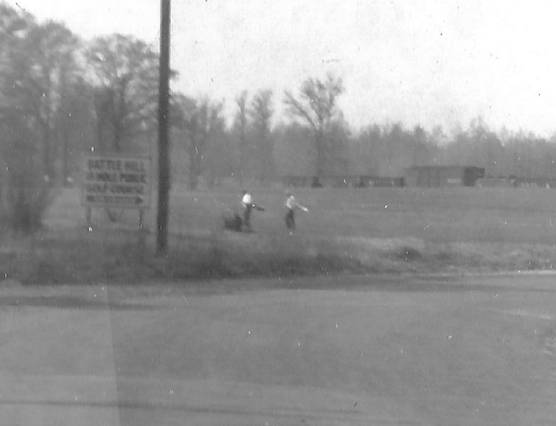 This is the only photo we have seen of the Battle Hill Golf Course taken in the 1940s by William Young while riding on his bike. The photo was taken looking north on Springfield Rd. toward where the Bed, Bath and Beyond building stands currently. Mr. Young was a huge fan of the RVRR and took hundreds of photos. I am guessing that he was too late to get a closer shot of the train and we are lucky to have a shot of the golf course where it borders Springfield Rd.