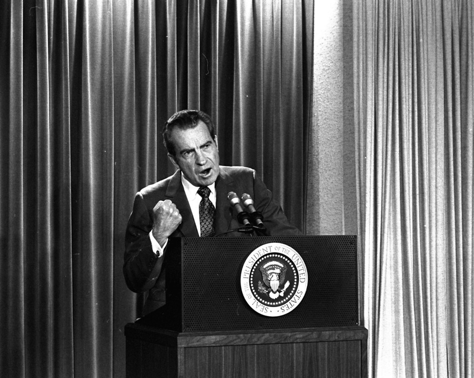. President Nixon tells White House newsmen, March 15, 1973, that he will not allow his legal counsel, John Dean, to testify on Capitol Hill on the Watergate investigation.  (AP Photo/Charlie Tasnadi)