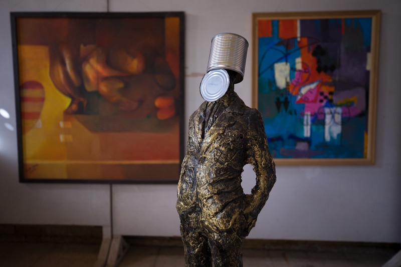 Contemporary art by Iraqi artists at a gallery in Basra.