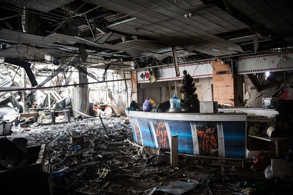 . DONETSK, UKRAINE - FEBRUARY 26:  A sports bar sits amongst the wreckage of the destroyed Donetsk airport on February 26, 2015 in Donetsk, Ukraine. The Donetsk airport has been one of the most heavily fought over pieces of land between the Ukrainian army and pro-Russian rebels.  (Photo by Andrew Burton/Getty Images)