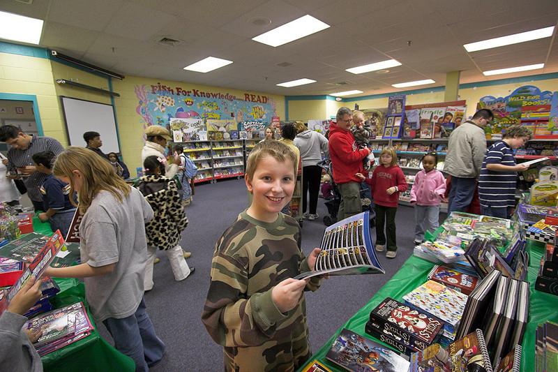 Joshua at the school book fair - October 2006