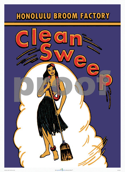 165: 'Clean Sweep' Vintage Honolulu Broom Factory Product Label, ca 1935. The origins of this charming label were vague and begged the question if this was a product sold only locally, or would it have appealed to Mainlanders for its exotic origins? Imagine, a Forties' housewife with curlers must certainly have pictured herself with her 'hula broom' in a grass skirt and little else... While contemplating this idea, we suddenly happened upon Honolulu Broom Factory brooms at the local Longs Drugs store. The Honolulu Broom Factory was founded in 1923, the logo designed in 1935, and the brooms are still being produced by hand in a small factory in Honolulu. Don't you love it when history comes alive? (PROOF watermark will not appear on your print)