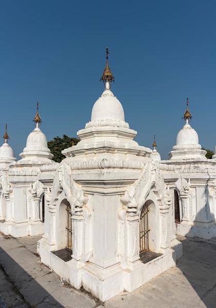 White stupas containing the world's largest book at Kuthodaw Pagoda, Mandalay, Burma (Myanmar)
