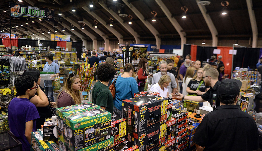 . Hundreds of people shop during the Reptile Super Show which is the world\'s largest reptile show with more than 500 tables of rare & unique animals including lizards, turtles, frogs, supplies at the Fairplex in Pomona, Calif., on Saturday, Jan.4, 2014.   (Keith Birmingham Pasadena Star-News)