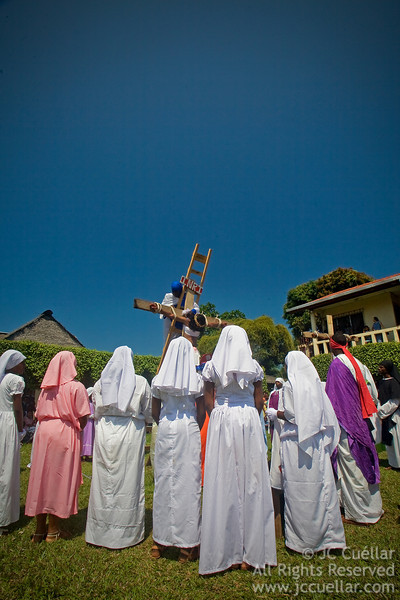 Crucifixion of Christ played out in the streets of Livingston, Guatemala during Easter Celebrations.