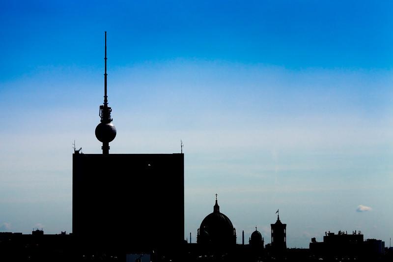 Berlin skyline from the Reichstag roof terrace looking eastward, Berlin, Germany