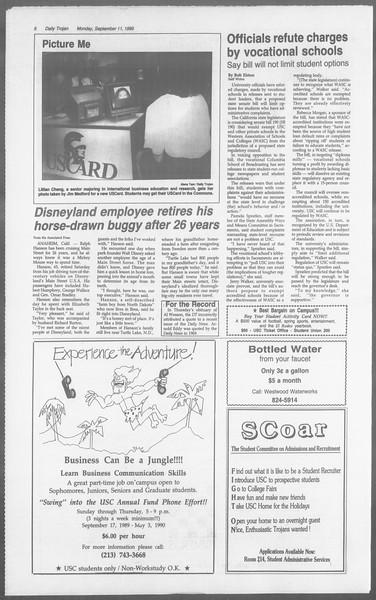 Daily Trojan, Vol. 110, No. 5, September 11, 1989