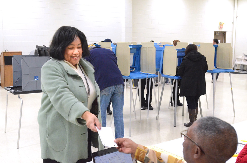 . Pontiac Mayor Deirdre Waterman voting at the Bowens Senior Center in Pontiac.   Tuesday, November 4, 2014.  Tim Thompson-The Oakland Press