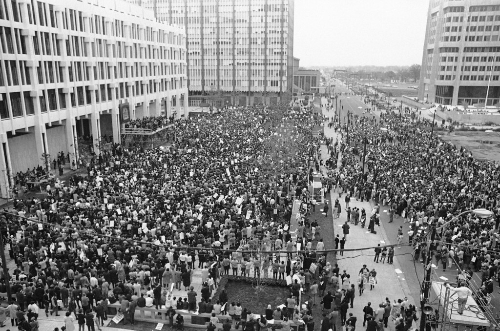 . A huge crowd fills the square in front of Memphis� City Hall during a mass march in honor of Dr. Martin Luther King Jr. who was assassinated in Memphis on April 9, 1968. (AP Photo/Gene Herrick)