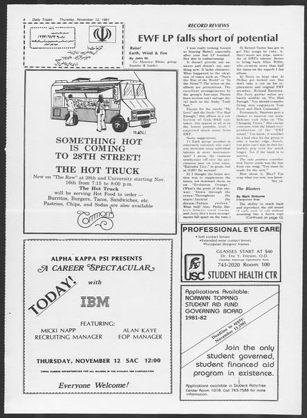 Daily Trojan, Vol. 91, No. 51, November 12, 1981