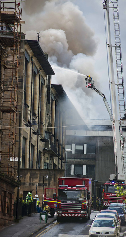 . Fire crews tackle a fire at the Glasgow School of Art Charles Rennie Mackintosh Building on May 23, 2014 in Glasgow, Scotland.   (Photo by Chris Watt/Getty Images)