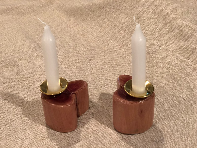 Handmade wood candle holder