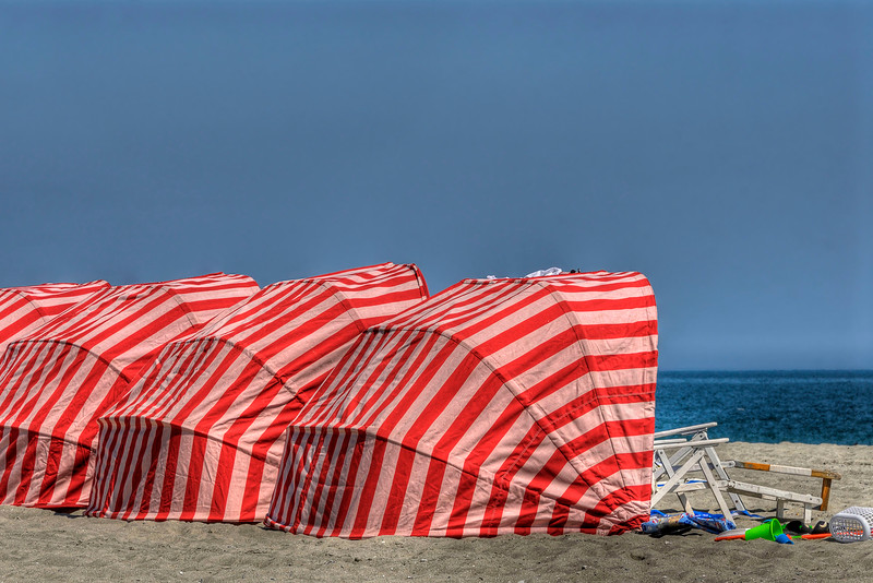 Several brightly colored beach cabanas in Myrtle Beach, SC on Tuesday, March 20, 2012. Copyright 2012 Jason Barnette
