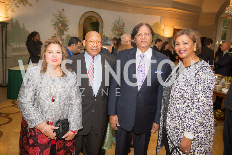 Shaista Mahmood, Alphonso Jackson, Ray Mahmood, Marcia Jackson,50th Annual Meridian Ball Leadership Committee Reception at the Blair House, co-hosted with Ambassador Sean P. Lawler.  September 13, 2018, Photo by Ben Droz.