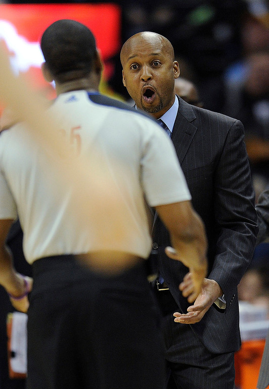 . Denver coach Brian Shaw reacted to a call late in the fourth quarter.   Photo By Karl Gehring/The Denver Post
