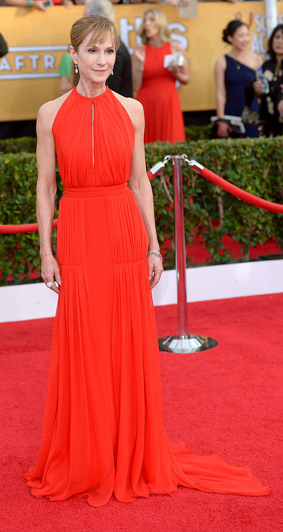 . Holly Hunter arrives at the 20th Annual Screen Actors Guild Awards  at the Shrine Auditorium in Los Angeles, California on Saturday January 18, 2014 (Photo by Michael Owen Baker / Los Angeles Daily News)