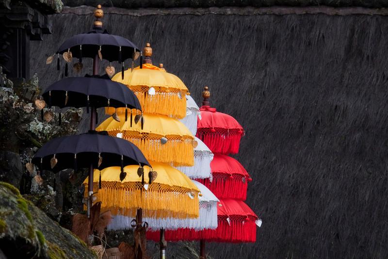 Umbrellas at Statue at Besakih Temple near Mt Agung