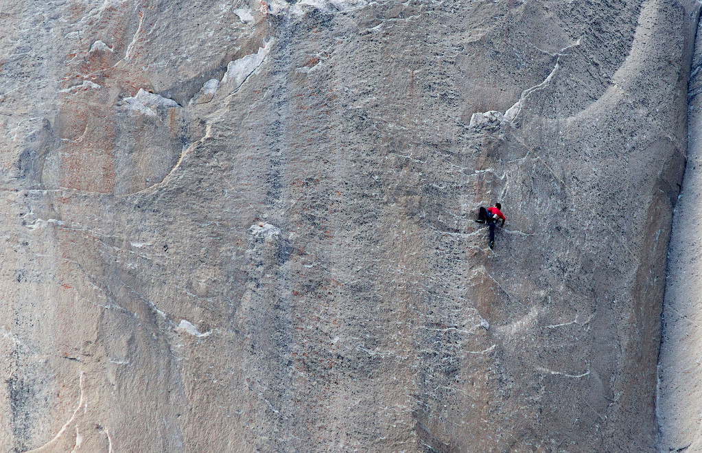 . In this Jan. 12, 2015 photo provided by Tom Evans, Kevin Jorgeson climbs what has been called the hardest rock climb in the world: a free climb of El Capitan, the largest monolith of granite in the world, a half-mile section of exposed granite in California\'s Yosemite National Park. El Capitan rises more than 3,000 feet above the Yosemite Valley floor. The first climber reached its summit in 1958, and there are roughly 100 routes up to the top. (AP Photo/Tom Evans, elcapreport)