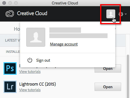 How to sign out of Creative Cloud