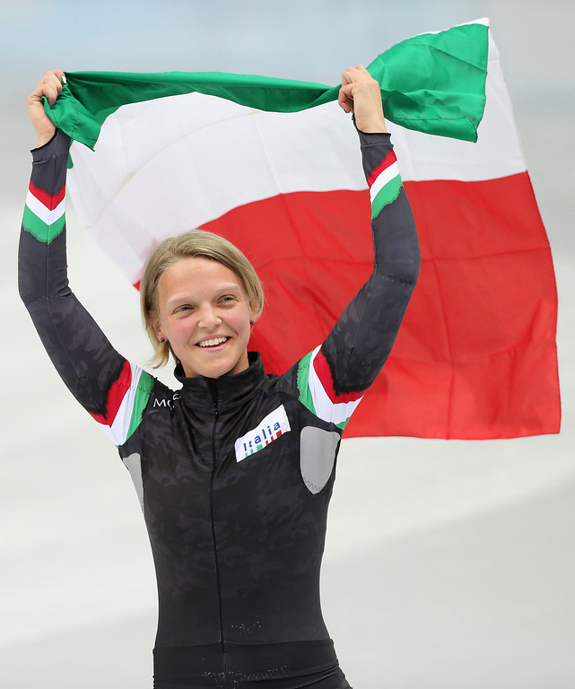 . Arianna Fontana of Italy celebrates after winning silver in the women\'s 500m final of the Short Track events in the Iceberg Skating Palace at the Sochi 2014 Olympic Games, Sochi, Russia, 13 February 2014.  EPA/HOW HWEE YOUNG