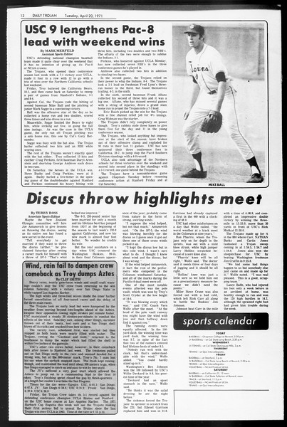 Daily Trojan, Vol. 62, No. 106, April 20, 1971