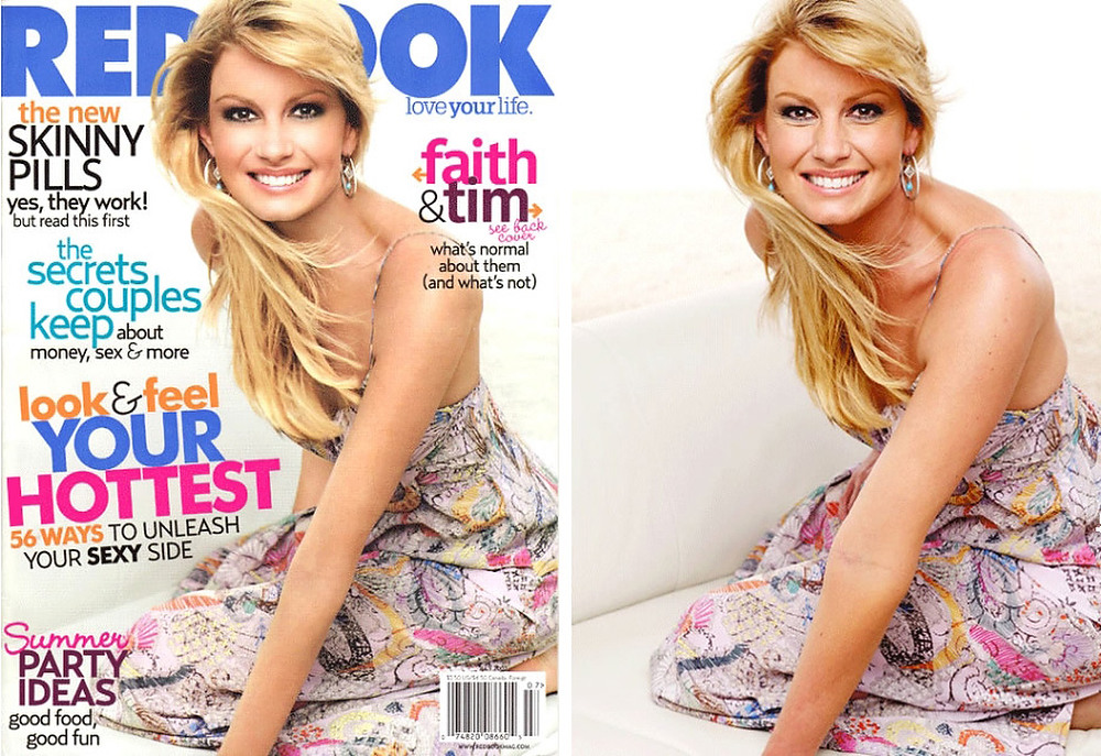 ". July 2007: This cover of Redbook magazine shows a heavily re-touched (and thinner) image of singer and actress Faith Hill. Redbook was accused of contributing to the unattainable body image created by digital re-touching. In response, Redbook\'s editor in chief Stacy Morrison said, ""The retouching we did on Faith Hill\'s photo for the July cover of Redbook is completely in line with industry standards.\""  SOURCE: http://www.cs.dartmouth.edu/farid/research/digitaltampering/"