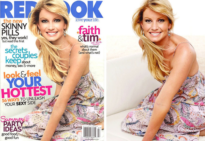 """. July 2007: This cover of Redbook magazine shows a heavily re-touched (and thinner) image of singer and actress Faith Hill. Redbook was accused of contributing to the unattainable body image created by digital re-touching. In response, Redbook\'s editor in chief Stacy Morrison said, \""""The retouching we did on Faith Hill\'s photo for the July cover of Redbook is completely in line with industry standards.\""""  SOURCE: http://www.cs.dartmouth.edu/farid/research/digitaltampering/"""