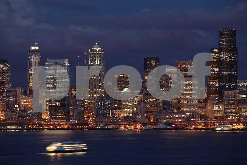 Seattle skyline at dusk from Hamilton Park in West Seattle. 4092