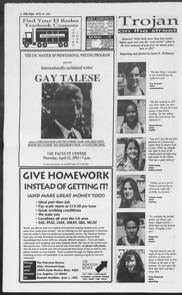 Daily Trojan, Vol. 119, No. 62, April 21, 1993