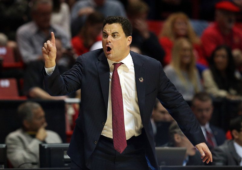 . Arizona Wildcats head coach Sean Miller shouts to his team during their game against the Weber State Wildcats in the second round of the 2014 NCAA Men\'s Basketball Tournament at Viejas Arena on March 21, 2014 in San Diego, California.  (Photo by Jeff Gross/Getty Images)