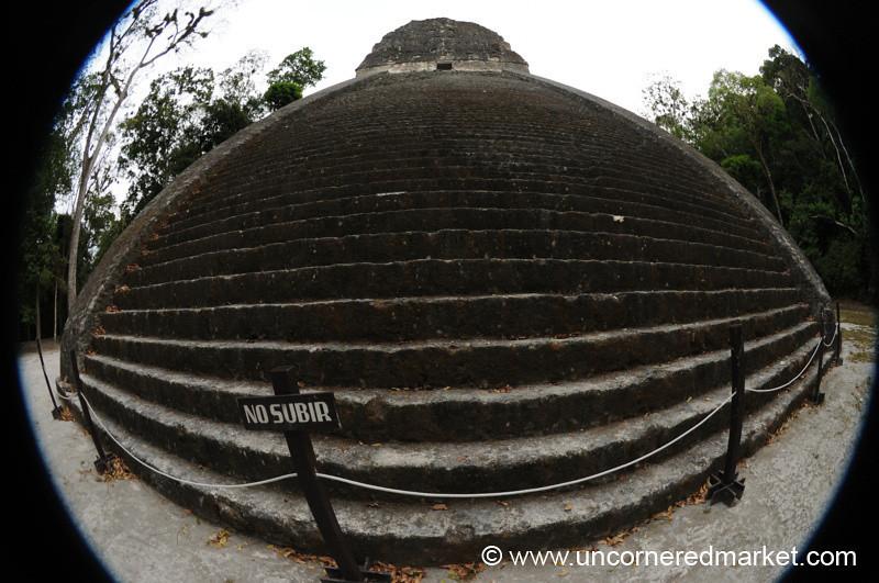 Tikal Mayan Pyramid, Fisheye - Guatemala