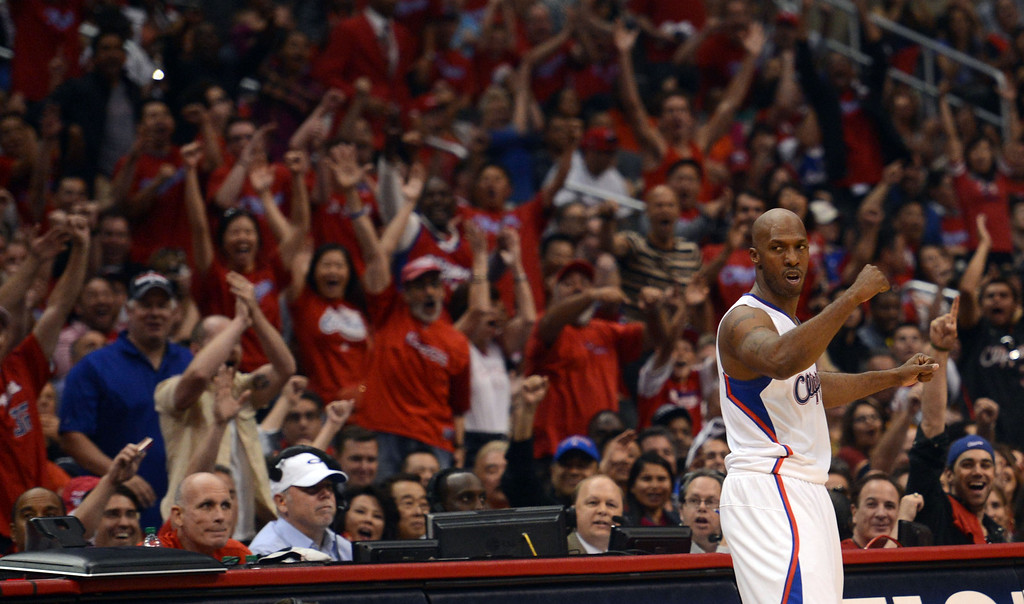 . The Clippers\' Chauncey Billups #1 reacts after hitting a basket and drawing the foul during their first round Western Conference Playoff game against the Grizzlies at the Staples Center in Los Angeles Saturday, April 20, 2013. (Hans Gutknecht/Staff Photographer)