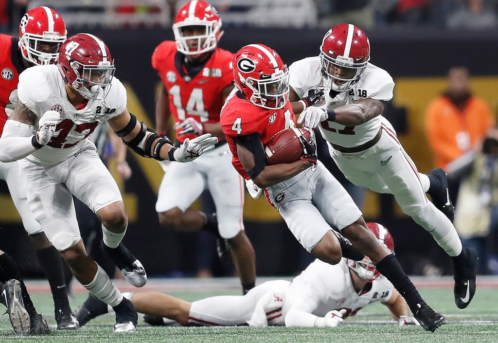 . Georgia wide receiver Mecole Hardman runs during the second half of the NCAA college football playoff championship game against Alabama Monday, Jan. 8, 2018, in Atlanta. (AP Photo/David Goldman)