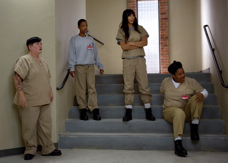 . (L-R) Lea DeLaria, Samira Wiley, Jackie Cruz and Adrienne C. Moore in a scene from Netflix�s �Orange is the New Black� Season 2. (Jessica Miglio, Netflix)