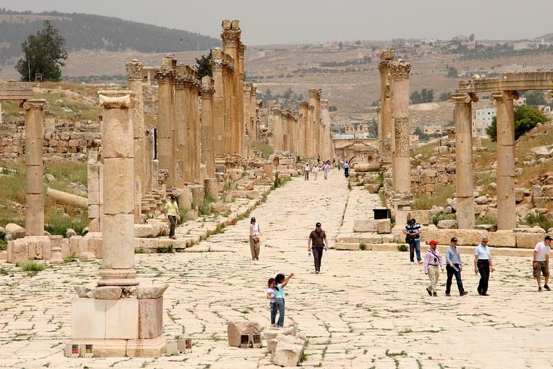 Jerash - The Cardo Maximus is the cities main thoroughfare and stretches for 800m from the Central Plaza to the North Gate.  It was originally built in the 1st century AD, but has been rebuilt and redesigned several times since.  The street still contains the original flagstone paving.  It was once lined by about 500 columns that were deliberately built at uneven heights to compliment the facades of the buildings that once stood behind them.