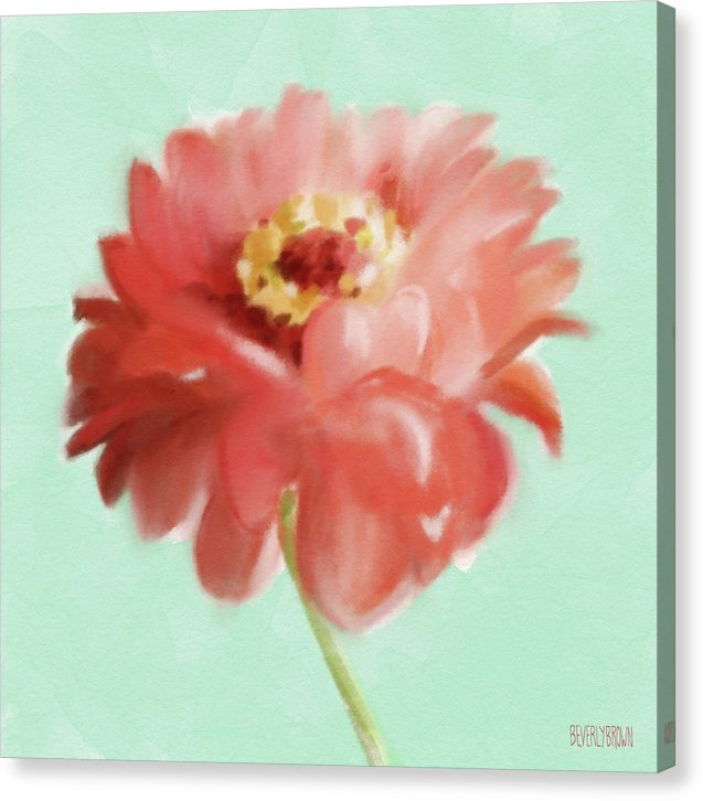 Zinnia Floral Coral and Mint Canvas Wall Art by Beverly Brown