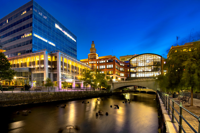 Woonasquatucket River and Providence Place at night