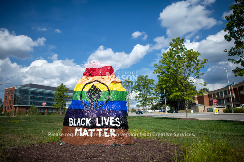 Black Lives Matter painted rock