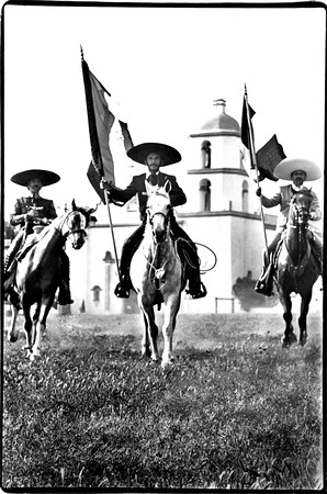 Three Vaqueros Ride,<br /> Celebrating Mexico's,<br /> Independence Day.<br /> <br /> Mission San Luis Rey - Oceanside, California