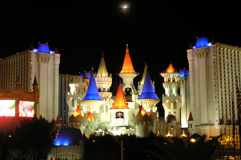 Excalibur with the setting moon above