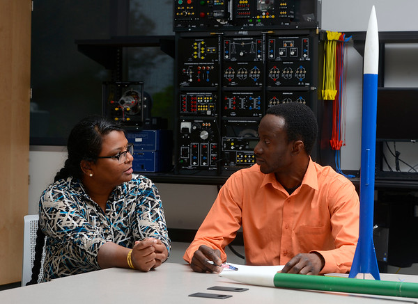Hybrid Rocket team mentor,  Dr. Bhuvana Ramachandran, assistant professor of electrical and computer engineering at the University of West Florida, and UWF Senior, Abdul Huuda, studying Electrical Engineering and a member of the Hybrid Rocket team.