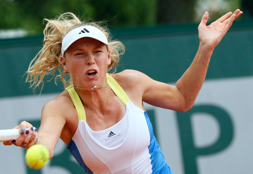 . Denmark\'s Caroline Wozniacki hits a shot to Serbia\'s Bojana Jovanovski during their French Tennis Open match at the Roland Garros stadium in Paris, on May 29,  2013.  KENZO TRIBOUILLARD/AFP/Getty Images