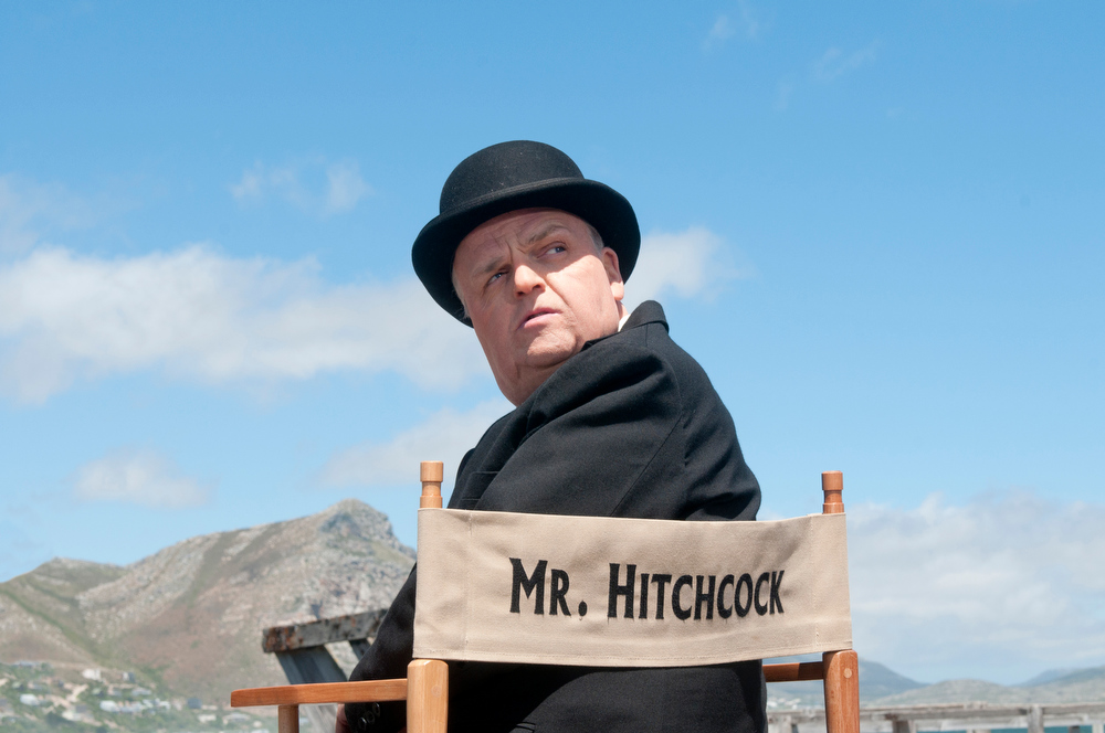 Description of . This image released by HBO shows Toby Jones, portraying Alfred Hitchcock in a scene from the film