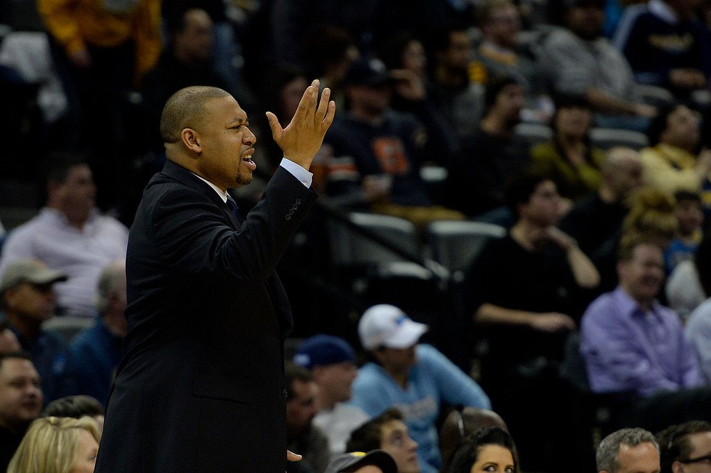 . DENVER, CO - MARCH 03: Melvin Hunt of the Denver Nuggets argues a call during the second quarter of action against the Milwaukee Bucks. The Denver Nuggets hosted the Milwaukee Bucks at the Pepsi Center on Tuesday, March 3, 2015. (Photo by AAron Ontiveroz/The Denver Post)