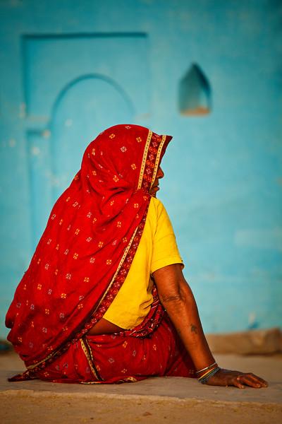Woman in Khajuraho village. Madhya Pradesh, India