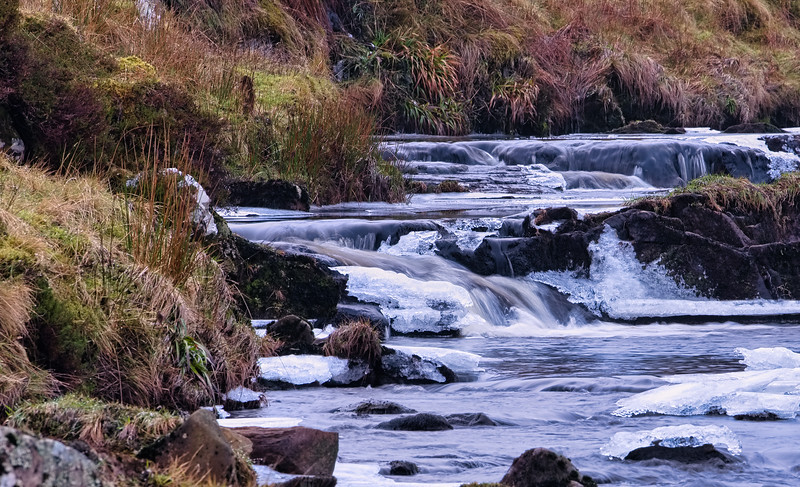 A Freezing Scottish Burn or River in Winter.