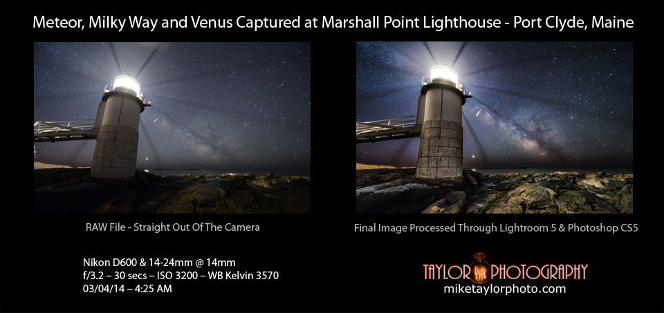 Meteor, Milky Way and Venus at Marshall Point Lighthouse BEFORE & AFTER