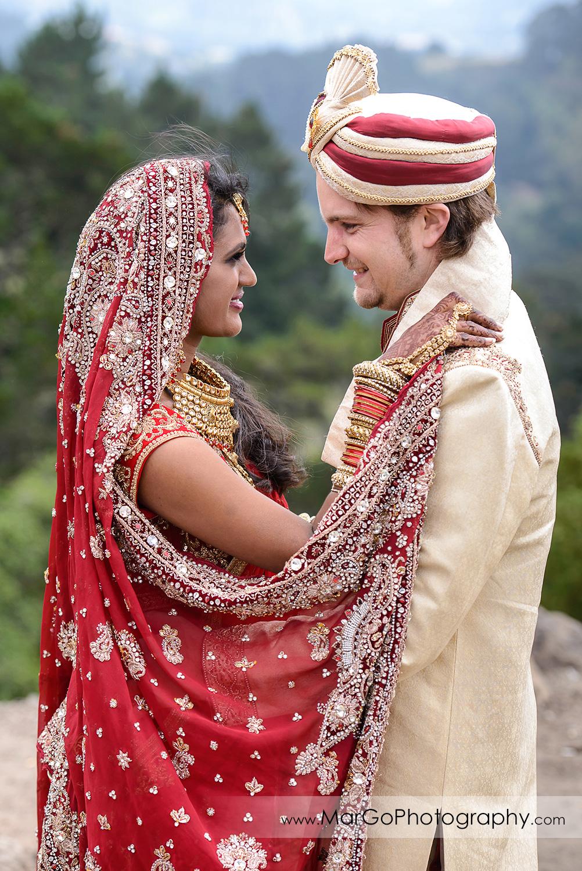 bride and groom together before Indian wedding at Tilden Regional Park, Berkeley