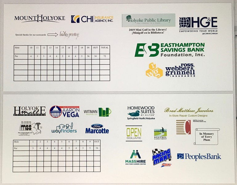 Each Sponsor sent us a logo to use in the design of the scorecard. By March 27 this design was sent to Hadley Printing.